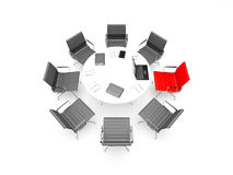 Business meeting. 3d render of scene with business chairs, table, laptop and writing-materials