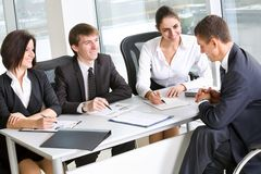 Business meeting. Young business people in a meeting at office Stock Photo