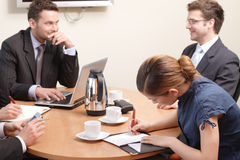 At the business meeting. Group of people at the business meeting stock photo