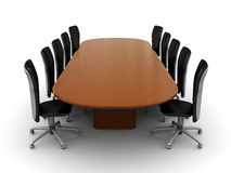 Business meeting. 3d illustration of business meeting, table, over white background Royalty Free Stock Photos