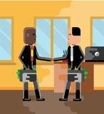 Business meeting african and european businessmen. With money suitcases in office. Corporate multicultural business people vector illustration Royalty Free Stock Images