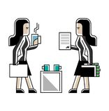 Business meeting asian women in office. Business meeting asian businesswomen or contract conclusion. Corporate business people isolated vector illustration in Stock Photos