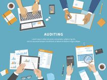 Business meeting, audit,  calculation, data analysis, reporting, accounting. People at work. Human hands on a table with documents. Graphs, charts. Vector Stock Photography