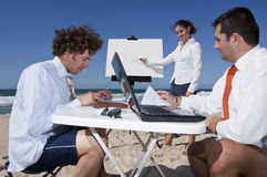 Business meeting on the beach Stock Photo
