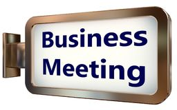 Business Meeting on billboard background. Business Meeting on wall light box billboard background , isolated on white Royalty Free Stock Photo