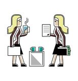 Business meeting blonde women in office. Business meeting blonde businesswomen or contract conclusion. Corporate business people isolated vector illustration in Royalty Free Stock Image