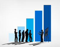 Business meeting with a blue graph Stock Photo