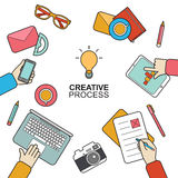 Business meeting and brainstorming concept in modern flat style. Vector flat background design of creative process. Royalty Free Stock Images