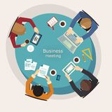 Business meeting and brainstorming. Flat design. Stock Image