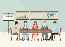 Business meeting brainstorming in flat style. Royalty Free Stock Photos