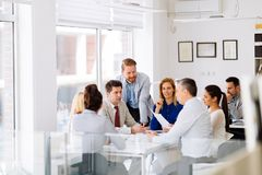 Business meeting and brainstorming. In modern office royalty free stock photography