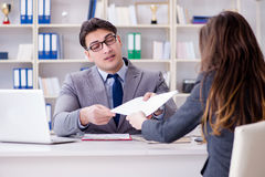 The business meeting between businessman and businesswoman Stock Images
