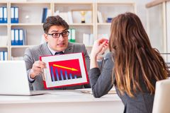 The business meeting between businessman and businesswoman Royalty Free Stock Images