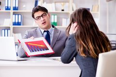 The business meeting between businessman and businesswoman Royalty Free Stock Photo
