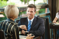 Business meeting in cafe Royalty Free Stock Images