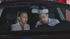 Business Meeting In The Car stock footage