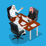 Business meeting concept, International Business, Arabic businessman presenting his ideas to colleagues for success. Investments at bright modern office room Royalty Free Stock Photo