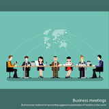 Business meeting concept with people chatting in conference room flat vector illustration Stock Photo