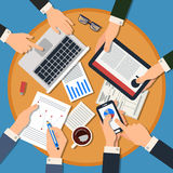 Business Meeting Concept. Top View of Desk with Hands, Gadgets. And Documents. Vector illustration in flat style royalty free illustration