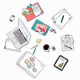 Business meeting concept top view people hands sketch vector ill Royalty Free Stock Photos