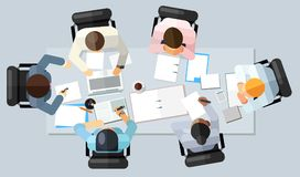 Business meeting concept. Vector illustration in an aerial view with people sitting around a conference table with blank copy spac vector illustration