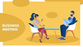 Business Meeting, Coworkers Conversation Banner. Man and Woman Sitting in Chairs Cartoon Characters. Colleagues Discussing Corporate Matter. Job Interview vector illustration