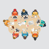 Business meeting design. Business meeting, office, teamwork, brainstorming in flat style, conceptual vector illustration Royalty Free Stock Photo