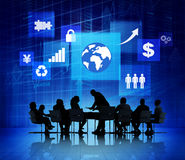 Business Meeting with Different Signs in the Background Royalty Free Stock Images
