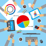 Business meeting, discuss the plan. Illustration vector illustration