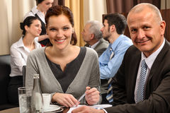 Business meeting executive people at restaurant royalty free stock photography