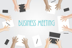 Business meeting flat concept with top view of different busines Stock Images