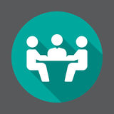 Business meeting flat icon. Round colorful button, circular vector sign with long shadow effect. Royalty Free Stock Photo