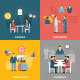 Business Meeting  Flat Icons Composition Stock Photo