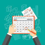 Business meeting. Flat  modern design concept of business strategy, planning meeting. Page of calendar january 2017,  plan  and hands with pencil on the Stock Image