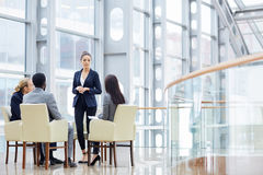 Business Meeting in Glass Hall Royalty Free Stock Photos