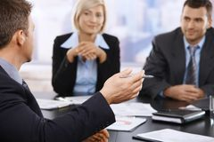 Business meeting, hand in closeup Royalty Free Stock Photos