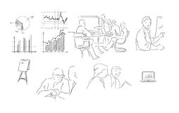 Business meeting hand drawing illustration Stock Image