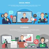 Planning Horizontal Banners Set. Business meeting horizontal banners with compositions of flat social and financial pictograms human characters and text vector Royalty Free Stock Images