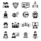 Business Meeting Icons Black Stock Photography