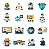 Business Meeting Icons. Set with agreement deal presentation collaboration symbols isolated vector illustration Royalty Free Stock Image