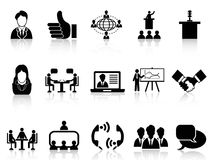 Business meeting icons set. Black business meeting icons set from white background Royalty Free Stock Images