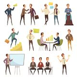 Business Meeting Icons Set. With planning and work symbols cartoon isolated vector illustration vector illustration