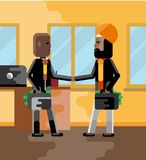 Business meeting indian and african businessmen. With money suitcases in office. Corporate multicultural business people vector illustration Stock Photos