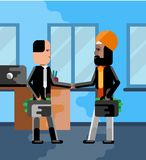 Business meeting indian and european businessmen. With money suitcases in office. Corporate multicultural business people vector illustration Royalty Free Stock Photos
