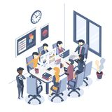 Business meeting. Isometric vector illustration. The concept of business meeting. Discussion of business projects, market analysis. Group work of businessmen vector illustration