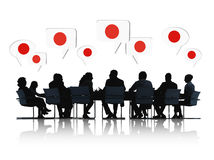 Business meeting About Japan. Group Of Business People Talking And Discussing About Japan Royalty Free Stock Photo