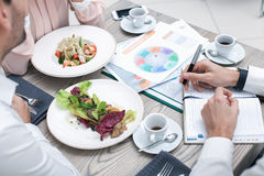Business meeting in luxury restaurant Stock Images