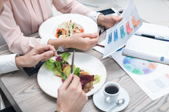 Business meeting in luxury restaurant Royalty Free Stock Photo