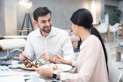 Business meeting in luxury restaurant Stock Photo