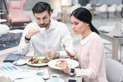 Business meeting in luxury restaurant Royalty Free Stock Image